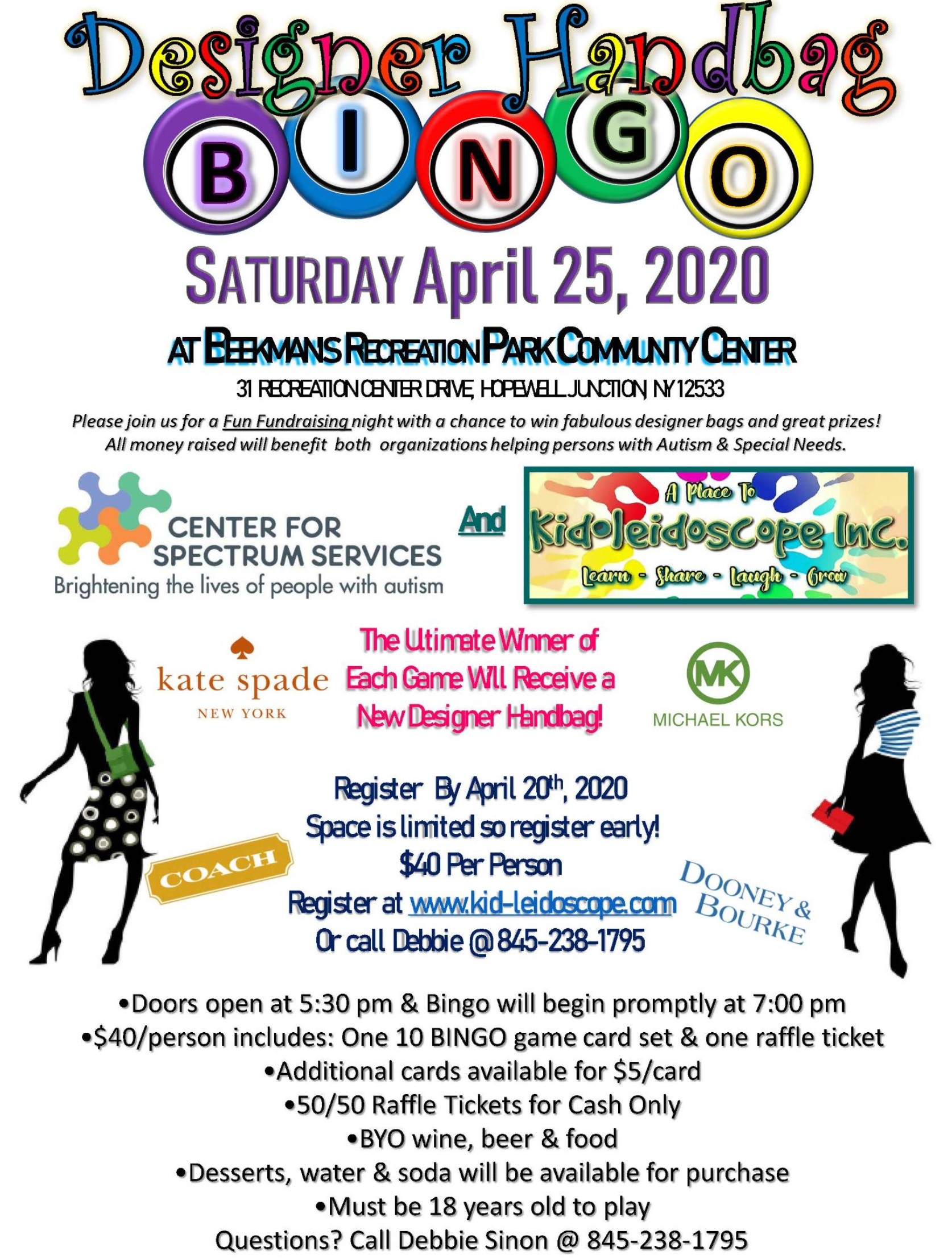 Kid-leidoscope Inc.'s & Center for Spectrum Services Designer Handbag BINGO April 25, 2020 to support children with special needs.